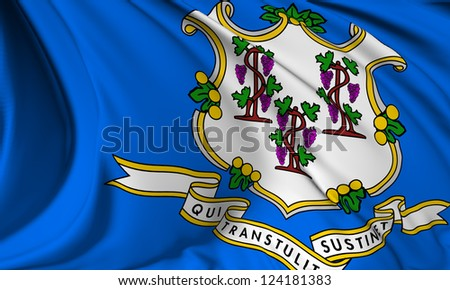 Connecticut flag - USA state flags collection no_3 - stock photo