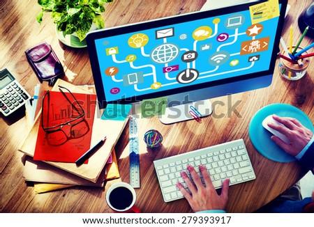 Connecting Internet Online Social Media Social Network Concept - stock photo