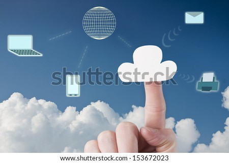Connecting Laptop and Phone to Cloud Services - stock photo