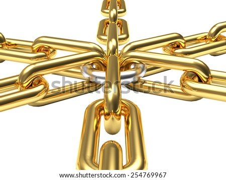 Connection concept. Golden chains with silver link isolated on white background - stock photo