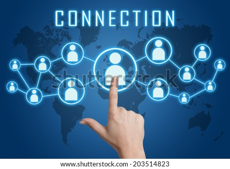 Connection concept with hand pressing social icons on blue world map background. - stock photo