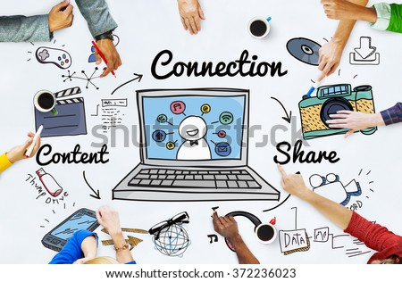 Connection Social Media Social Networking Concept - stock photo