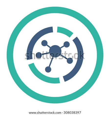 Connections diagram glyph icon. This rounded flat symbol is drawn with cobalt and cyan colors on a white background. - stock photo
