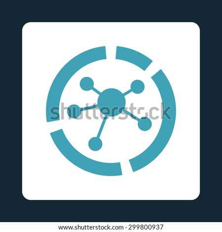 Connections diagram icon. Glyph style is blue and white colors, flat rounded square button on a dark blue background. - stock photo