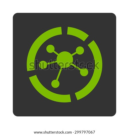 Connections diagram icon. Glyph style is eco green and gray colors, flat rounded square button on a white background. - stock photo