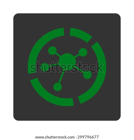 Connections diagram icon. Glyph style is green and gray colors, flat rounded square button on a white background. - stock photo