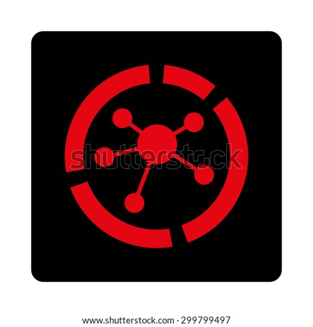 Connections diagram icon. Glyph style is intensive red and black colors, flat rounded square button on a white background. - stock photo