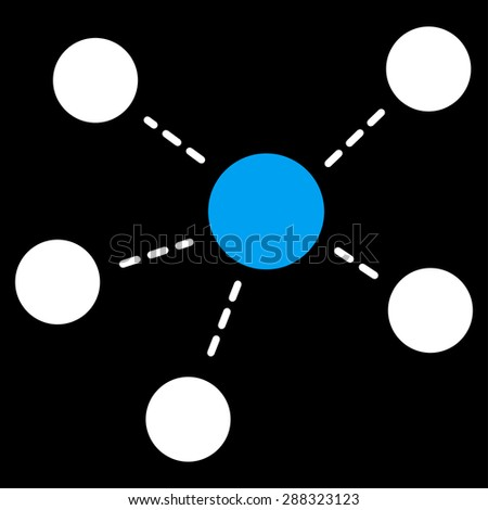 Connections icon from Business Bicolor Set. Glyph style: flat bicolor symbols, blue and white colors, rounded angles, black background. - stock photo