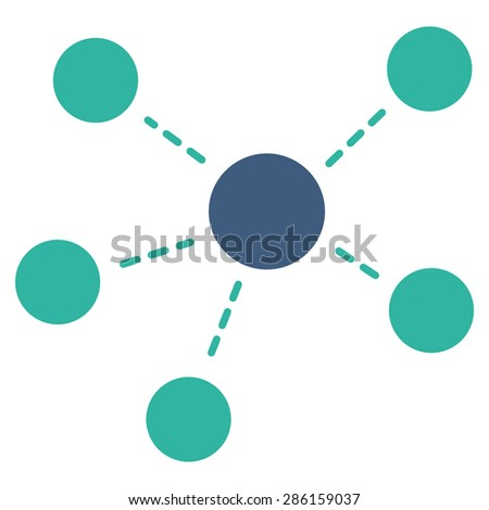 Connections icon from Business Bicolor Set. Glyph style: flat bicolor symbols, cobalt and cyan colors, rounded angles, white background. - stock photo
