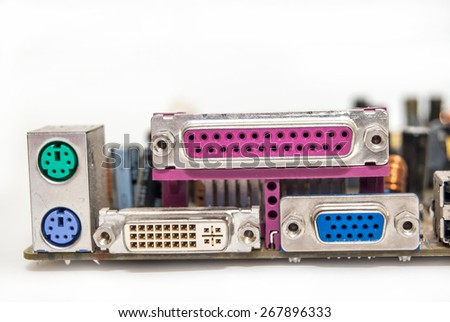 Connector of computer motherboard, back side computer port - stock photo