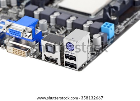 Connector of computer motherboard board, isolated on a white background - stock photo
