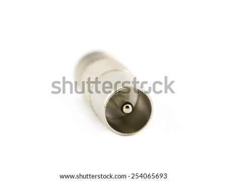 Connector of the coaxial cable isolated on white background - stock photo