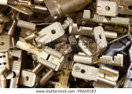 connectors for the electrical installation in cars covered with copper - stock photo