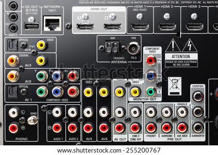 connectors panel of audio surround receiver amplifier - stock photo