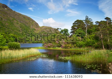 Connemara lake and mountains in Ireland - stock photo