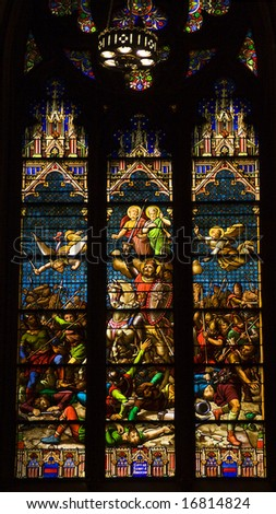 Conquering King on Horseback Stained Glass Saint Patrick's Cathedral New York City - stock photo