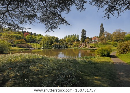 Consall Hall Gardens in Staffordshire, England, are beautifully lanscaped, with lakes, pools and many other features. - stock photo