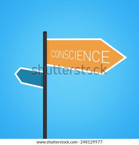 Conscience nearby, orange road sign concept on blue background - stock photo