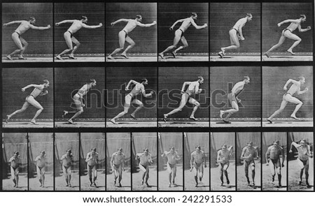 Consecutive images of a man running. From Eadweard Muybridge's, ANIMAL LOCOMOTION, 1887. - stock photo