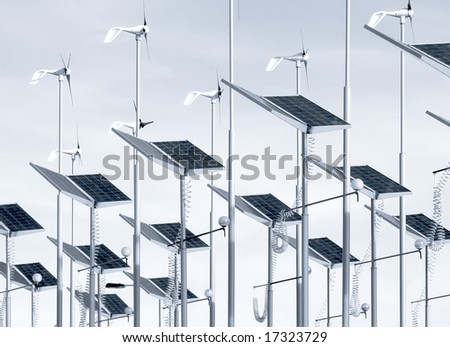 Conserving energy with wind generators and solar panels - stock photo