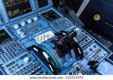 Console of a cockpit with its instruments - stock photo