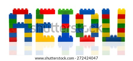 Consonants letter build from toy building blocks - stock photo