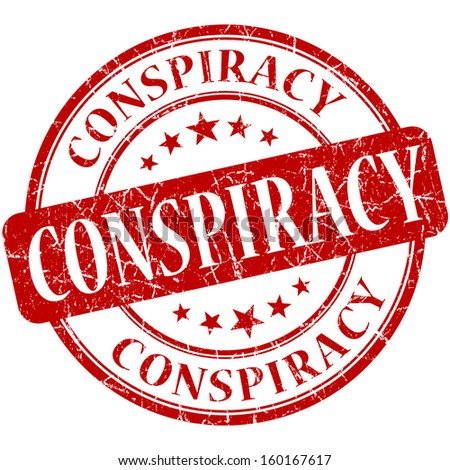 conspiracy grunge red round stamp - stock photo