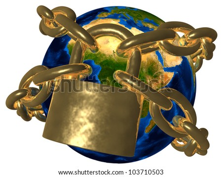 Conspiracy theories - Earth in golden chain - Europe Elements of this image furnished by NASA - stock photo