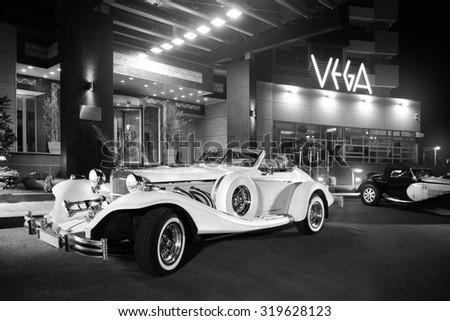 CONSTANTA, ROMANIA, June 5 2009: 1981 Excalibur Phaeton Series IV vintage luxury car in front of Vega hotel - stock photo