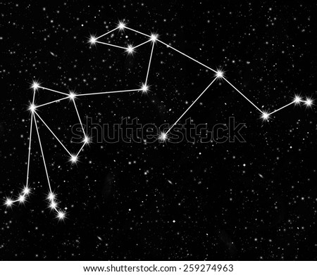constellation Aquarius against the starry sky - stock photo