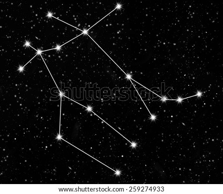 constellation Gemini against the starry sky - stock photo