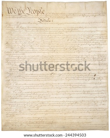 Constitution of the United States of America. First of four pages of the National Archives copy created in the Constitutional Convention in 1787. - stock photo