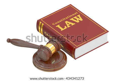 Constitutional Law concept with gavel. 3D rendering - stock photo