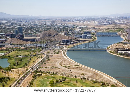 Construction along the shore of the Tempe Town Lake - stock photo