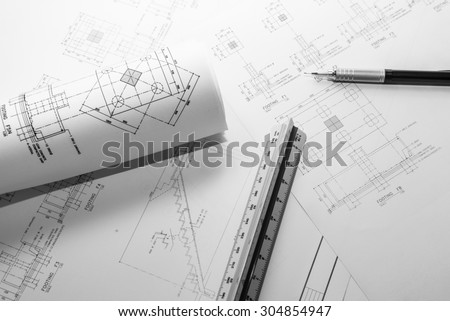 Construction and architecture drawings.Black and white tone. - stock photo