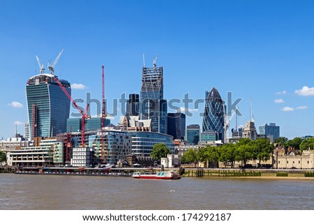 Construction and completion of London's financial center - stock photo