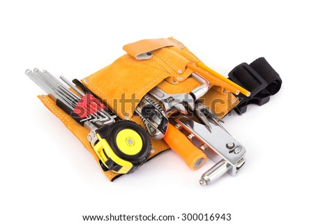 Construction bag with a set of tools - stock photo