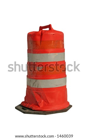 Construction barrel - Isolated with clipping path - stock photo