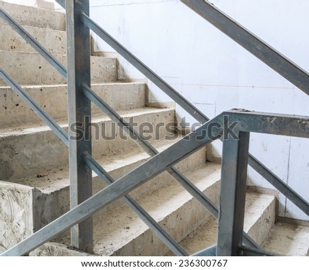 Construction Building inside under construction ,stair hall  - stock photo