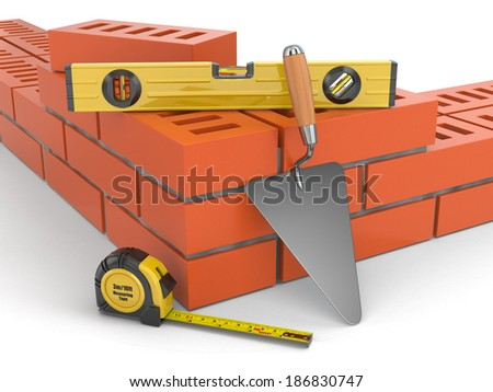 Construction concept. Brick wall trowel and level, 3d - stock photo
