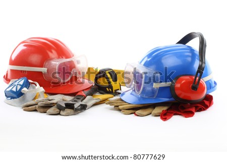 construction concept- industrial tools and protective gear - stock photo