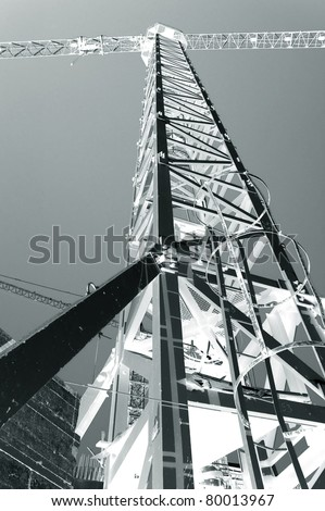 construction crane black and white - stock photo