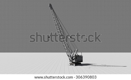 Construction crane. Illustration on the theme of building was done from my own 3D rendering file - stock photo