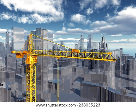 Construction crane in a city landscape Computer generated 3D illustration - stock photo