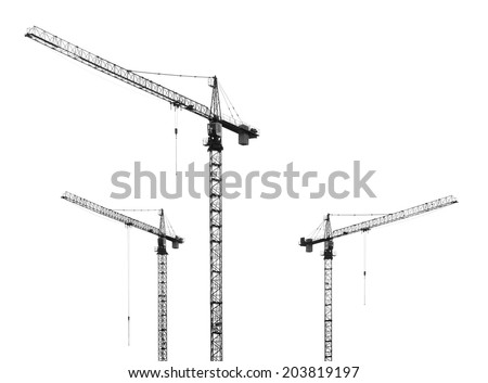 construction cranes on white background - stock photo