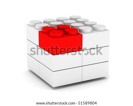 Construction. Different concept. White and red blocks isolated on white background. High quality 3d render. - stock photo