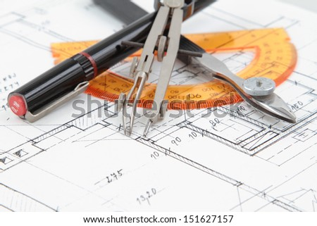construction drawing - stock photo