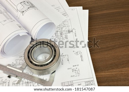 Construction drawings, caliper and bearing. Desk Engineer - stock photo