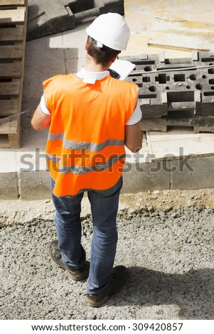 construction engineer foreman in the street city  - stock photo