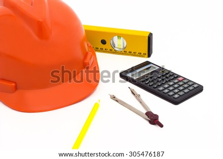 Construction equipment, isolated on white  - stock photo